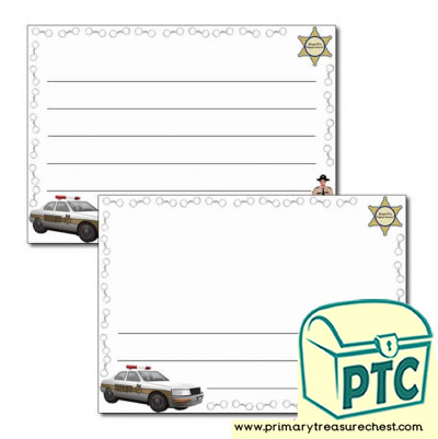 Sheriff Themed Landscape Page Border/Writing Frame (wide lines)