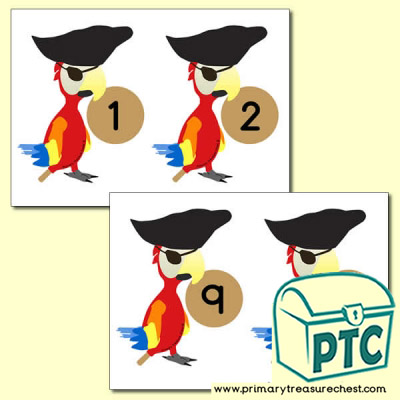 Pirate Parrot Number Line 0-10 (no border)