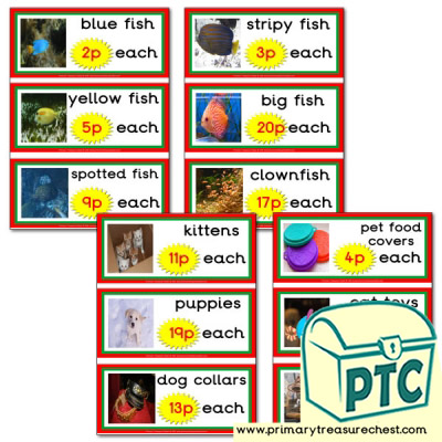 Pet Shop Role Play Prices Flashcards (1-20p)