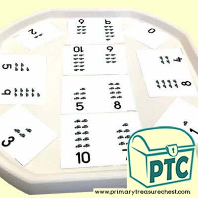 Taxi Themed Number Shape Tuff Tray Challenge