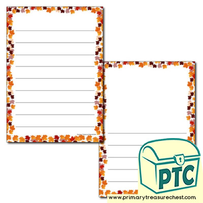 Autumn Leaves Page Border/Writing Frame (wide lines)