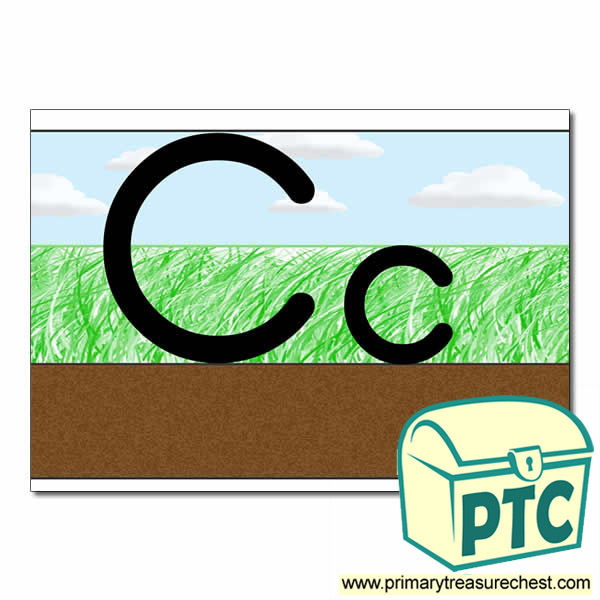 Letter 'Cc' Ground-Grass-Sky Letter Formation Sheet