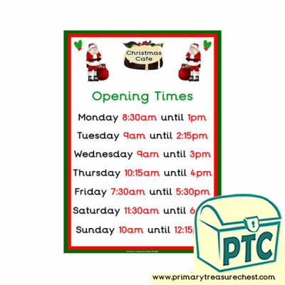 Christmas Role Play Cafe Opening Times (Quarter & Half Past)