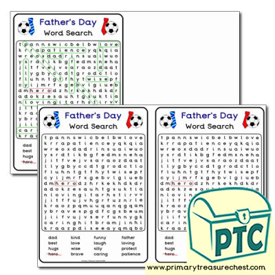 A5 Father's Day Word Search