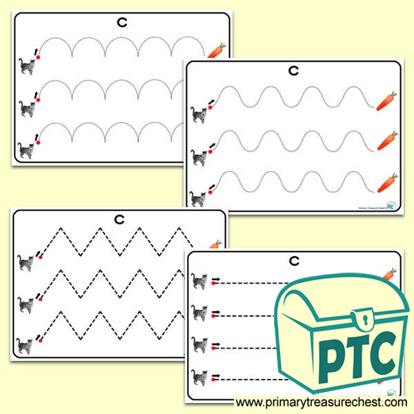 'Cc' Themed Pre-Writing Patterns Activity Sheets