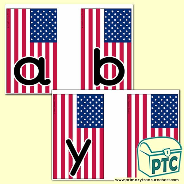 American Flag Themed Alphabet Cards (lower case)