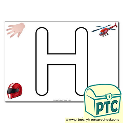 'H' Uppercase Bubble Letter A4 poster with high quality realistic images