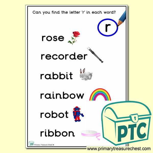 Find the Letter 'r' Activity Sheet