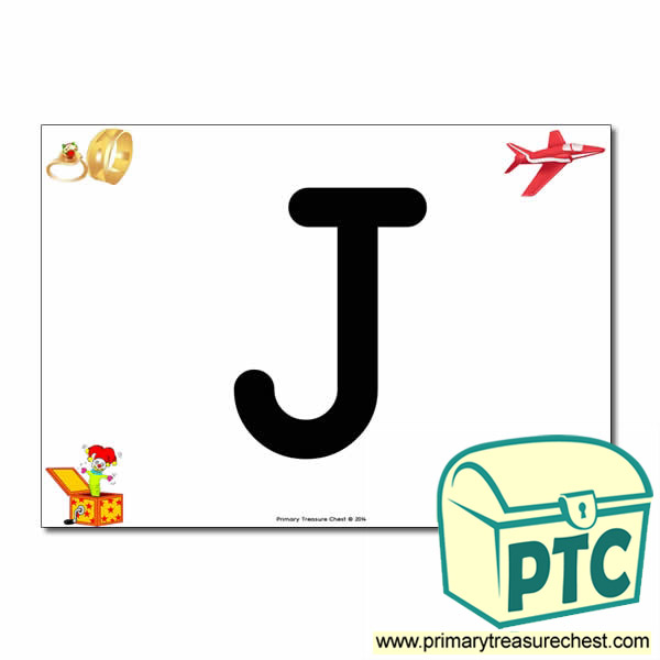 'J' Uppercase Letter A4 poster with high quality realistic images