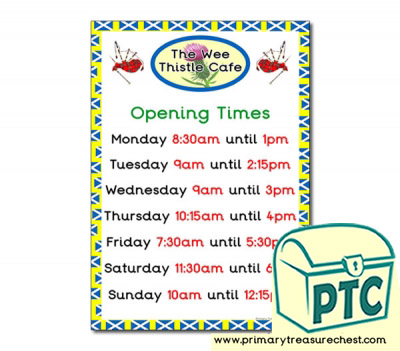Copy of Scottish Cafe Role Play Opening Times (Quarter & Half Past)