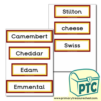 Cheese Themed Display Words