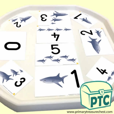 Shark Themed Number Tuff Tray Cards