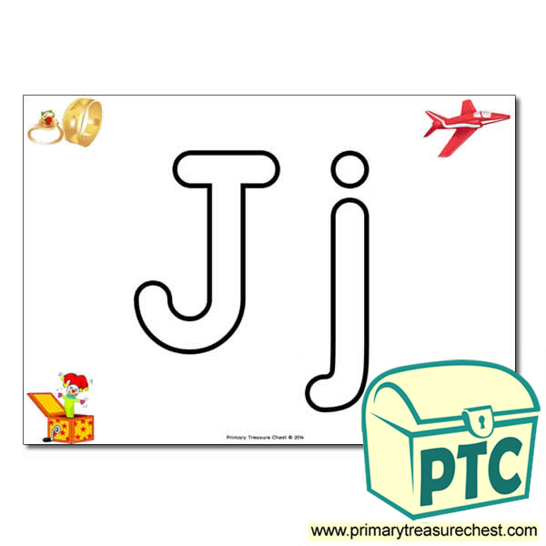 'Jj' Upper and Lowercase Bubble Letters A4 Poster, containing high quality, realistic images