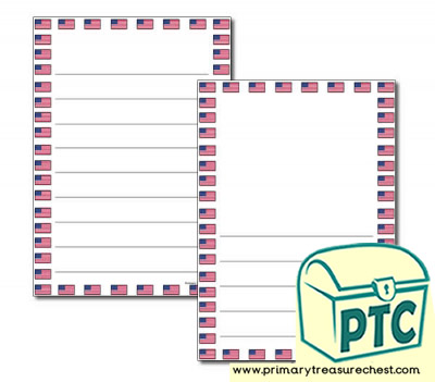 American Flag Page Border/Writing Frame (wide lines)