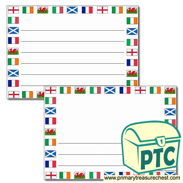 Six Nations Flags Landscape Page Border with Wide Lines