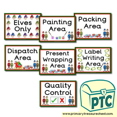 Santa's Workshop Role Play Signs