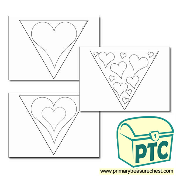 Heart Bunting Colouring Sheets