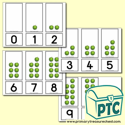 Apple Number Shapes Matching Cards 0 to 10
