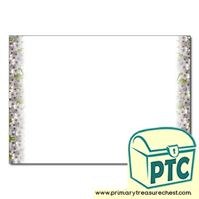 Cherry Blossom Landscape Page Border - No Lines