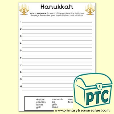 Hanukkah Themed Sentence Writng Activity
