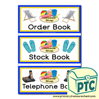 Seaside Shop Role Play Book Covers / Labels