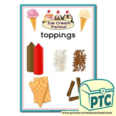 Ice Cream Parlour toppings Menu