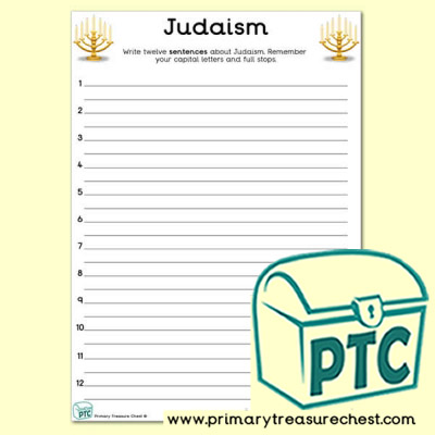 Judaism Themed Sentence Writng Activity