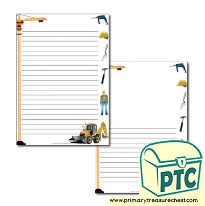 Construction Site Themed Page Border/Writing Frame (narrow lines)