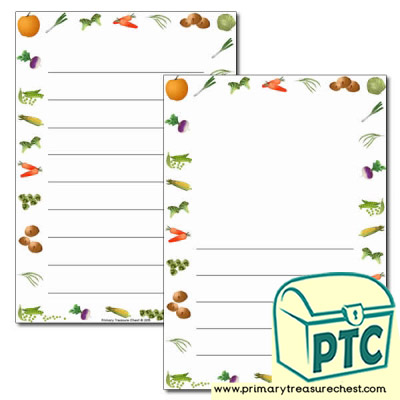 Vegetable Themed Page Borders/Writing Frames (wide lines)