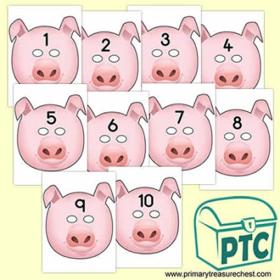 Pig Role Play Masks Numbered 1-10