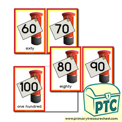 Postbox Number Line 60 to 100 in 10s