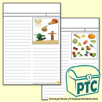 Harvest Newspaper Writing Activity Worksheet (Narrow Lines)