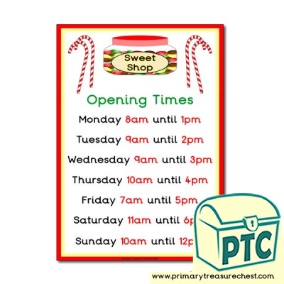 Role Play Sweet Shop Opening Times Poster (O'clock Times)