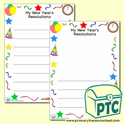 'My New Year's Resolutions' Writing Frame with Images (Narrow Lines)