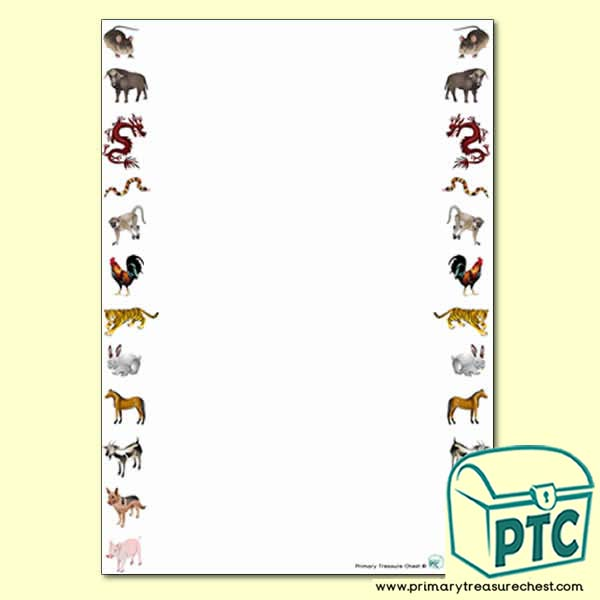 Chinese New Year Animals Page Border/Writing Frames - No Lines