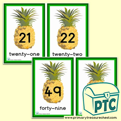 Pineapple Themed Number Line 21 to 50