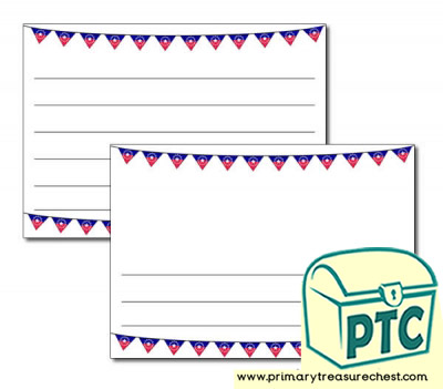 Juneteenth Bunting Landscape Page Border/Writing Frame (wide lines)