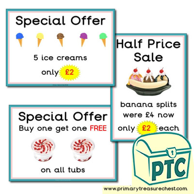 Ice Cream Parlour Special Offers 21p-£99