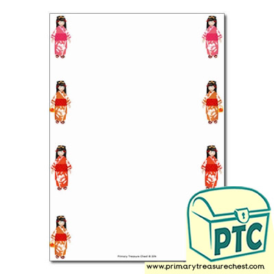 Japanese Girl Page Border/Writing Frame (no lines)