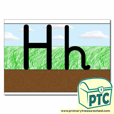 Letter 'Hh' Ground-Grass-Sky Letter Formation Sheet