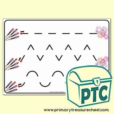 Fireworks Themed Pre-Writing Patterns Activity Sheet
