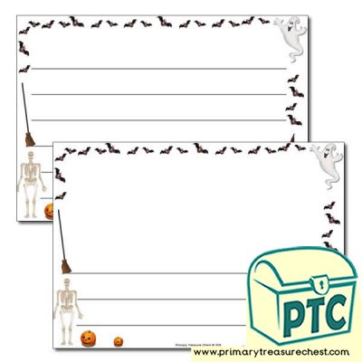 Halloween Landscape Page Border /Writing Frame (wide lines)