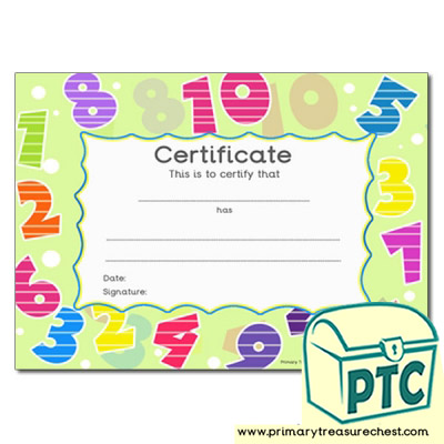Number Themed Certificate