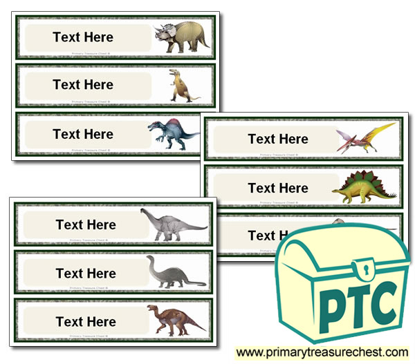 Various Dinosaur Themed Pupil Drawer Labels (Large)