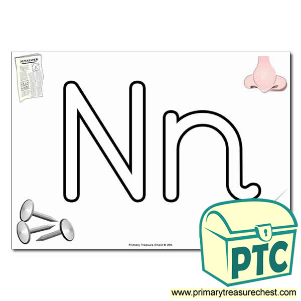 'Nn' Upper and Lowercase Bubble Letters A4 Poster, containing high quality, realistic images