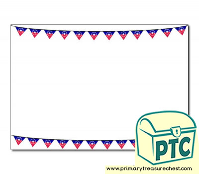 Juneteenth Bunting Landscape Page Border/Writing Frame (no lines)