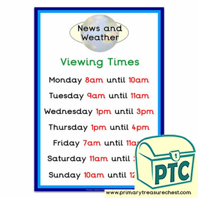Viewing Times (O'clock) for Your News Desk and Weather Forecasting Role Play