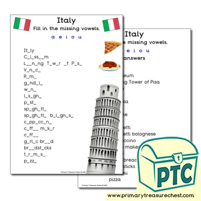 Italy Themed Missing Vowels Worksheet