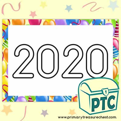 '2020' New Year's Play Dough Mat