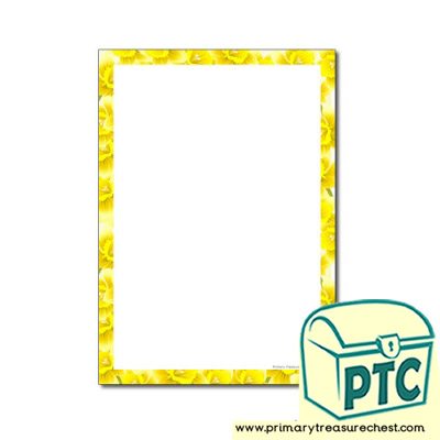 Daffodil Themed Page Border - No Lines